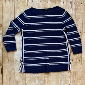 Talbots navy and white striped long sleeve sweater